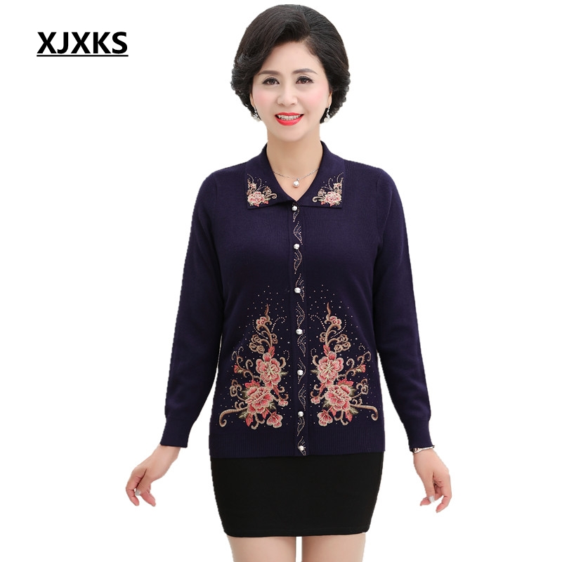 XJXKS Mother Clothing Autumn And Winter 2018 Large Size Women Sweater Coats Casual High Quality Cardigans