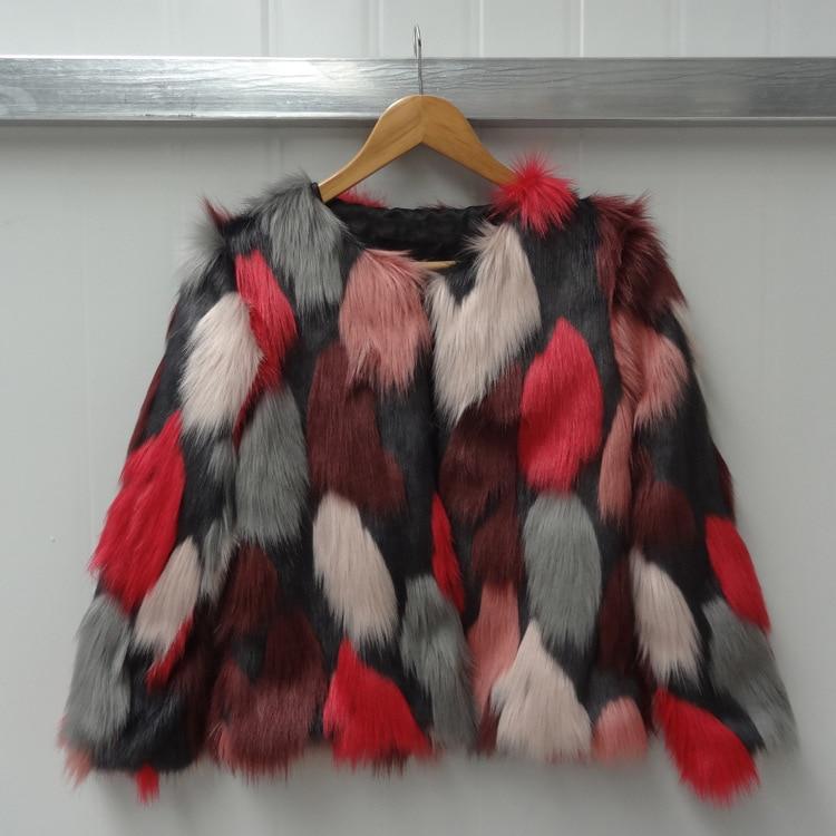 Women Mixed Color Man-Made Fur Jacket Casual Plus Size Faux Fur Coats Female Short Section Fur Outwear Casaco De Pele Falso Ck43 13