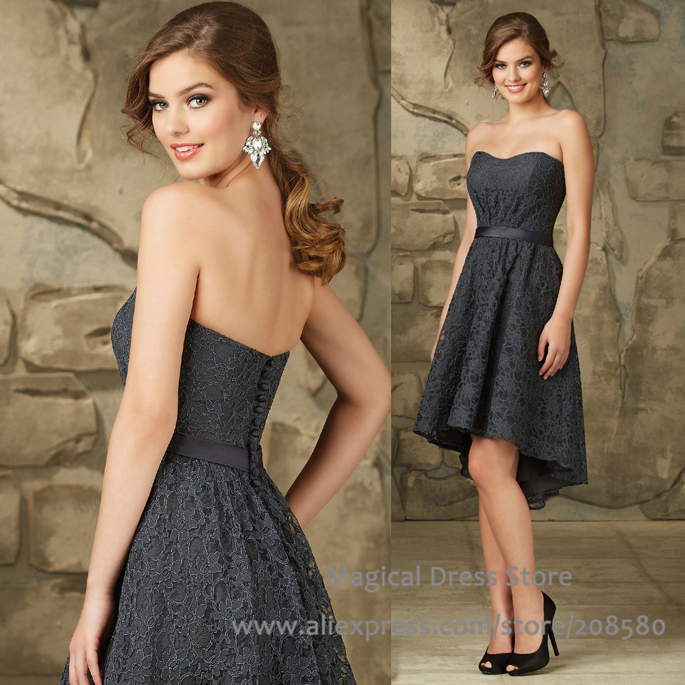 Online get cheap strapless grey bridesmaid dresses aliexpress beautiful dark grey short lace bridesmaid dresses strapless vestido de festa curto high low china wedding ombrellifo Images