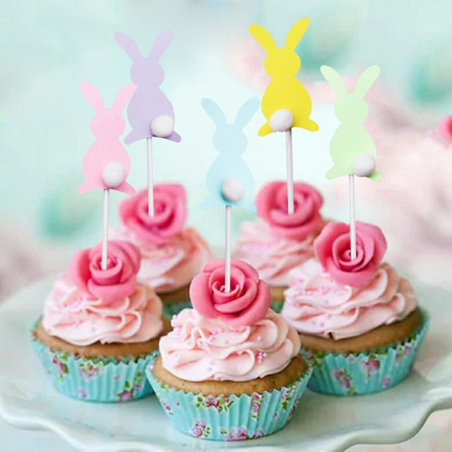 5pcs Set Cartoon Cute Hairball Rabbit Cake Party Decorations Child