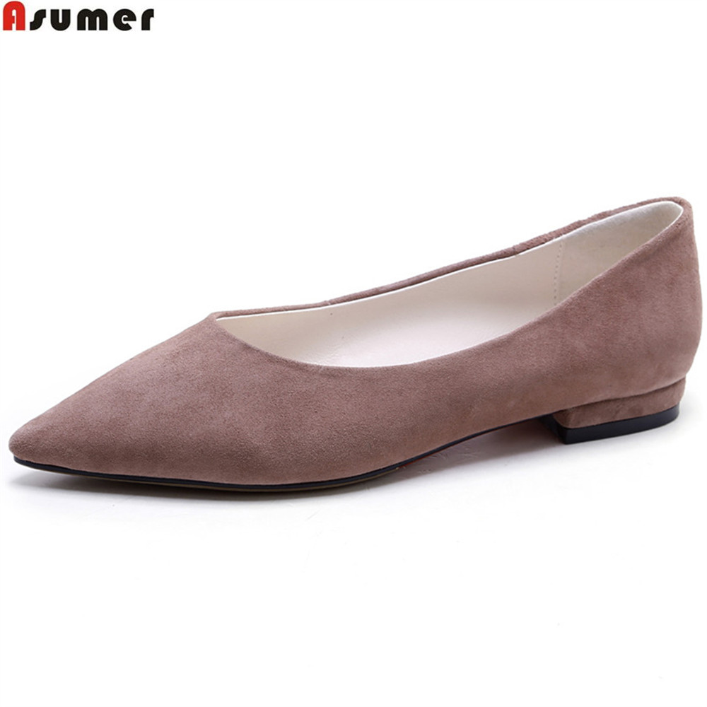 ASUMER gray Pale Mauve fashion women pumps square heel kid suede ladies shoes pointed toe shallow low heel shoes leather shoes [328] women autumn fashion shoes pu skin shallow low heeled shoes with high heel pointed shoes for ol lss 888