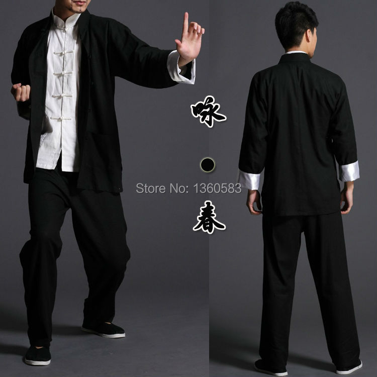 Bruce lee Wing Chun tai chi martial arts clothing set kung fu uniform chinese traditional Tang suits men's clothes Jacket+pants hot nuevo 10415 elfos azari aira naida emily jones cielo fortaleza castillo building block toys
