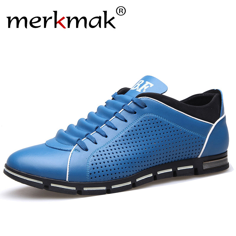 Merkmak 2020 Mens Summer Casual Shoes Breathable Holes Leather Shoes Brand Men Leisure Treandy Flats Fashion Shoes Hot Sale