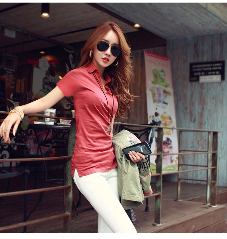 Summer Polo Shirt Women 2016 New Short Sleeve Solid Slim Polos Mujer Shirts Tops Fashion Plus Size Polo Femme 5 Color A192  d