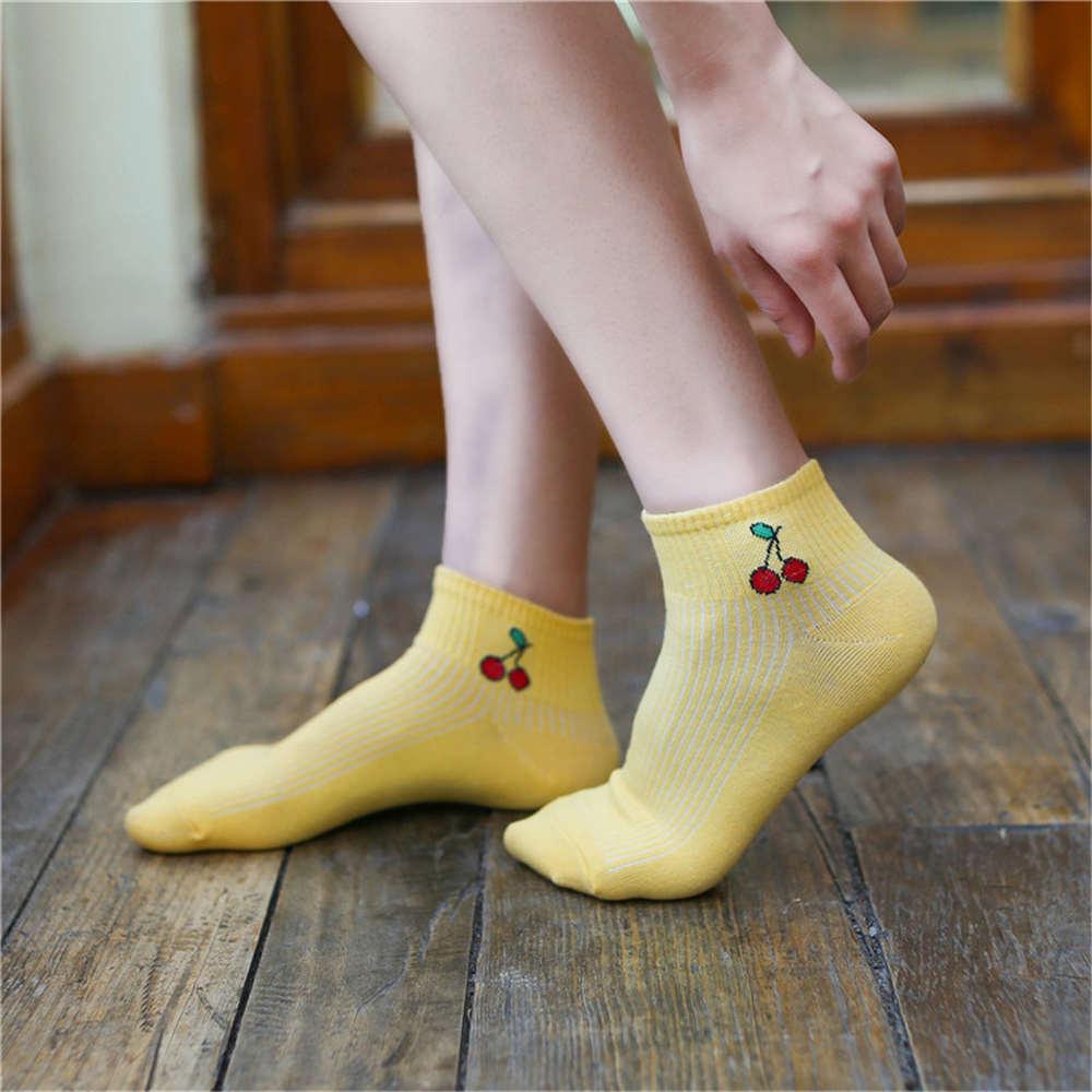 2018 новая весна лето искусство свежие фрукты лодка носки белые хлопчатобумажные носки