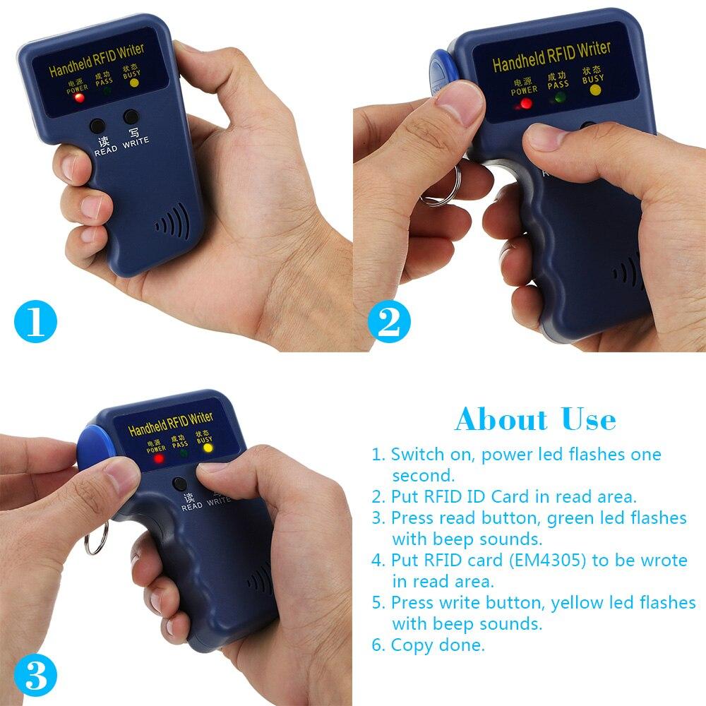 5 Writable Cards 5 Key Fob OWSOO Handheld 125Khz RFID ID