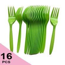 16 шт. в упаковке, зеленая пластиковая посуда, одноразовые вилки, Набор принадлежностей для вечеринки на день рождения