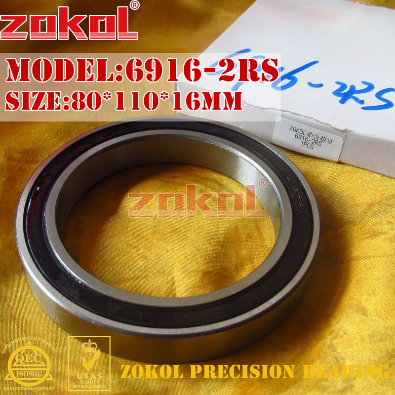 ZOKOL 6916RS bearing 6916 2RS 1000916 61916 6916-2RS Deep Groove ball bearing 80*110*16mmZOKOL 6916RS bearing 6916 2RS 1000916 61916 6916-2RS Deep Groove ball bearing 80*110*16mm