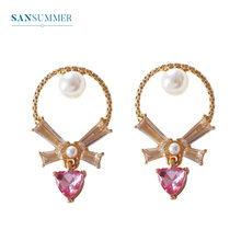 Sansummer New Hot Fashion Pink Heart Pearl Bowknot Youth Girl Personality Decoration Shiny Earrings Women Jewelry 871