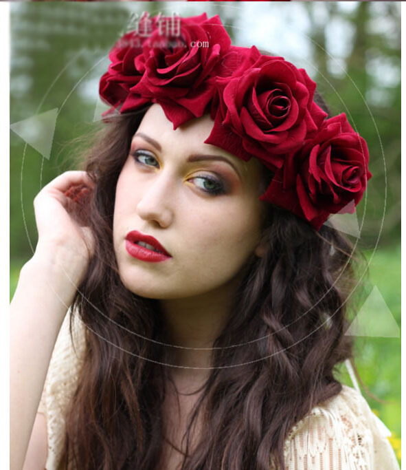 High Quality Bride Accessory Rose Flowers Hair Bridal Wedding Flower Garland Headbands Forehead Hair Band 1PC 00009 red gold bride wedding hair tiaras ancient chinese empress hair piece