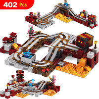 2017 New Technic Compatible LegoINGlys Minecrafter The Nether Railway Building Blocks My World Educational Toys 402