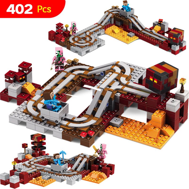 2017 New Technic Compatible LegoINGlys Minecrafter The Nether Railway Building Blocks My World Educational Toys 402 Pcs 259pcs new my world building blocks sets mine and workers scene blocks compatible legoinglys minecrafter toys for childrens