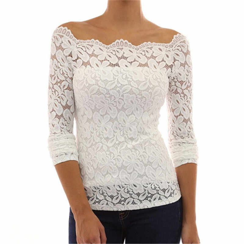 d2e84d6844fab1 Fashion Sexy Off Shoulder White Lace Crochet Blouses Women Long Sleeve  Casual Basic Chiffon Shirts Tops