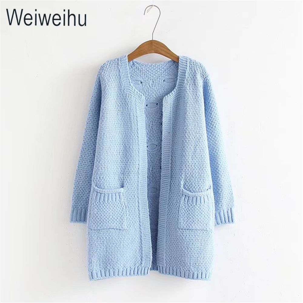 Autumn Winter Women Cardigans 2017 Light Blue Long Patchwork ...