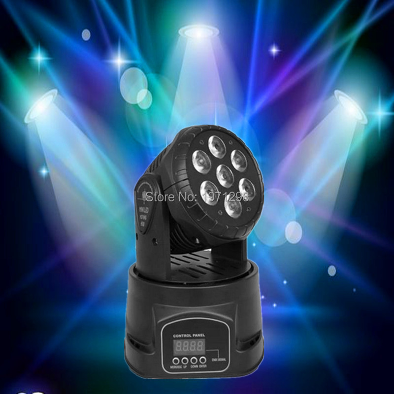 ФОТО 30pieces/lot LED moving head mini wash 7x12w rgbw quad with advanced 14 channels  DJ Disco Party Stage Effect Lighting
