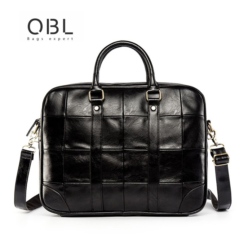 QiBOLu Men Business Handbags Briefcase Bag Male High Quality Dress Shoulder Bag For Business Men's Solid Leather Laptop Bags new fashion brand men handbags vintage brown leather briefcase business shoulder bags high quality leather laptop briefcase bag