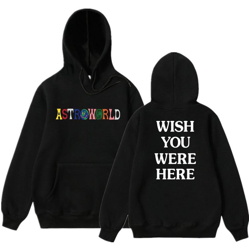 2019 NEW Men Hoodies Travis Scott Astroworld WISH YOU WERE HERE Sweatshirt Men Fashion Letter Print Hoodie Men And Woman Pullove