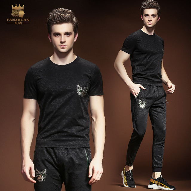 Fanzhuan Free Shipping New casual 2018 male Men's Summer suit man trousers T-shirt top pants jacquard two-piece set 811010