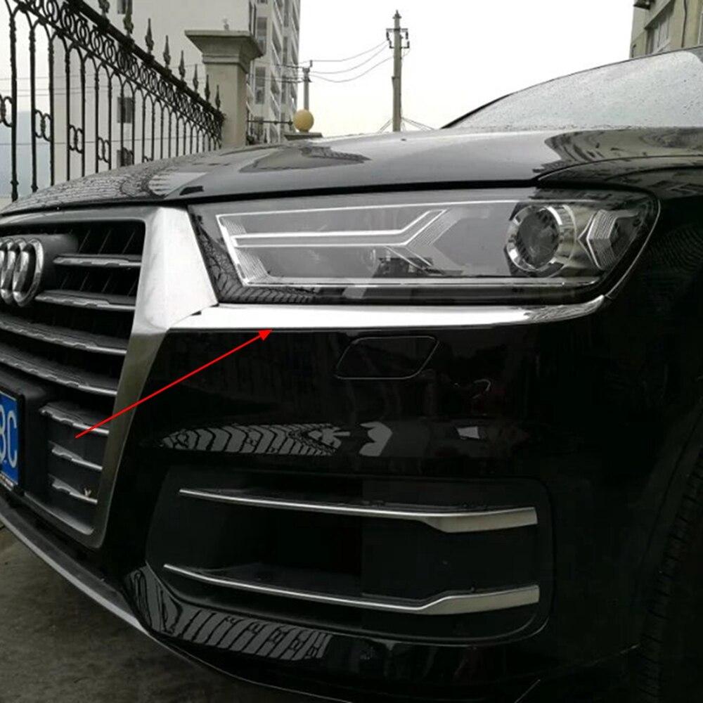 MONTFORD Para Audi Q7 2016 2017 2018 ABS Cromo Exterior frente Head Lamp Luz Do Farol Pálpebra Sobrancelha Capa Trims Tiras 2 Pcs