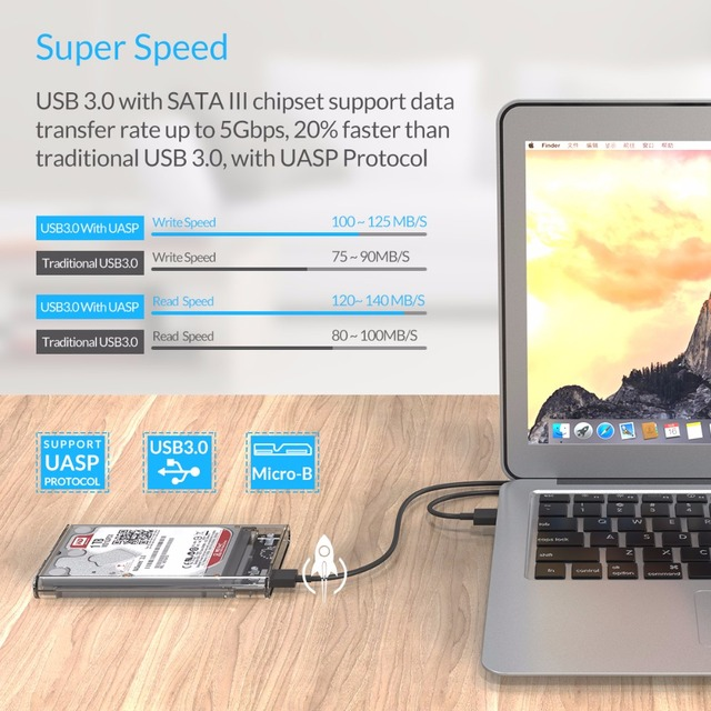 2.5 inch Transparent USB3.0 to Sata 3.0 Hard Disk Drive Case