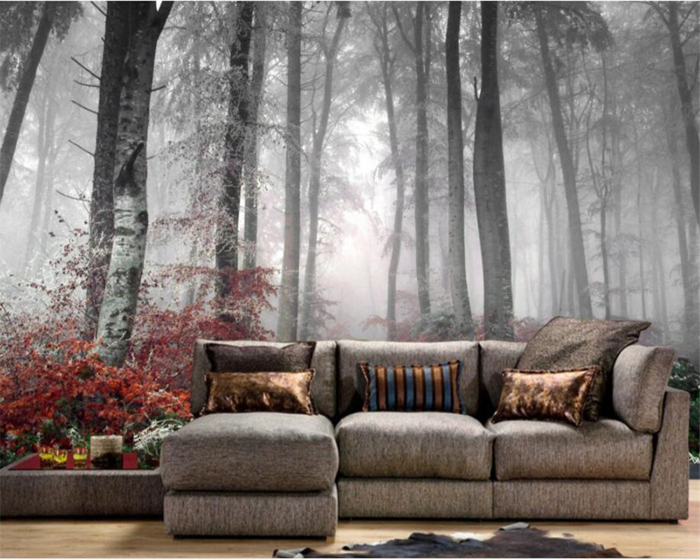 Beibehang Custom 3D natural forest wall murals photo wall 3D room landscape wallpaper living room home decoration 3d wallpaper european 3d wallpaper moroccan style wall stickers waterproof kitchen toilet decoration classical pattern living room murals