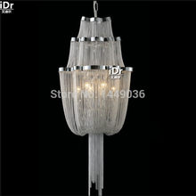 iDr Stream sling Chandeliers light rain after Italian luxury modern aluminum chain tassel chain double staircase lights(China)