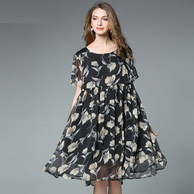 2017summer Style Loose Fit Women Floral Printed Empire Chiffon Dress Plus Size Female Casual Vestido Flare Dress Tunic Xxxxl6518 In Dresses From