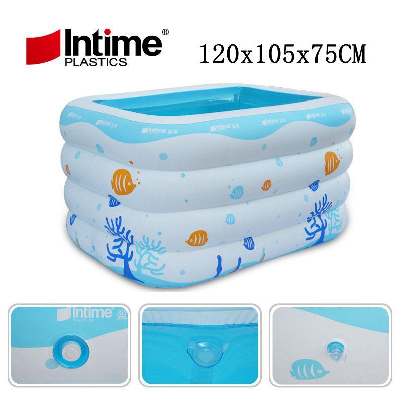 Piscine gonflable bébé piscine Center de natation sécurité gonflable Kiddie piscine baignoire, bleu et blanc océan imprimé 120x105x75 cm