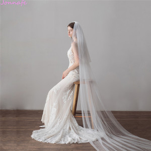 Image 4 - Jonnafe 3 Meter Cathedral Wedding Veils Long Ivory Tulle Bridal Veil With Comb Wedding Accessories