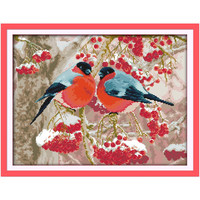 Bullfinch Birds Flowers Animal Decal Paintings Counted Printed On Canvas DMC 14CT 11CT Chinese Cross Stitch