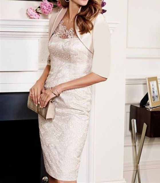 Elegant 2016 Knee Length Dress With Jacket Mother Of The Bride Coat