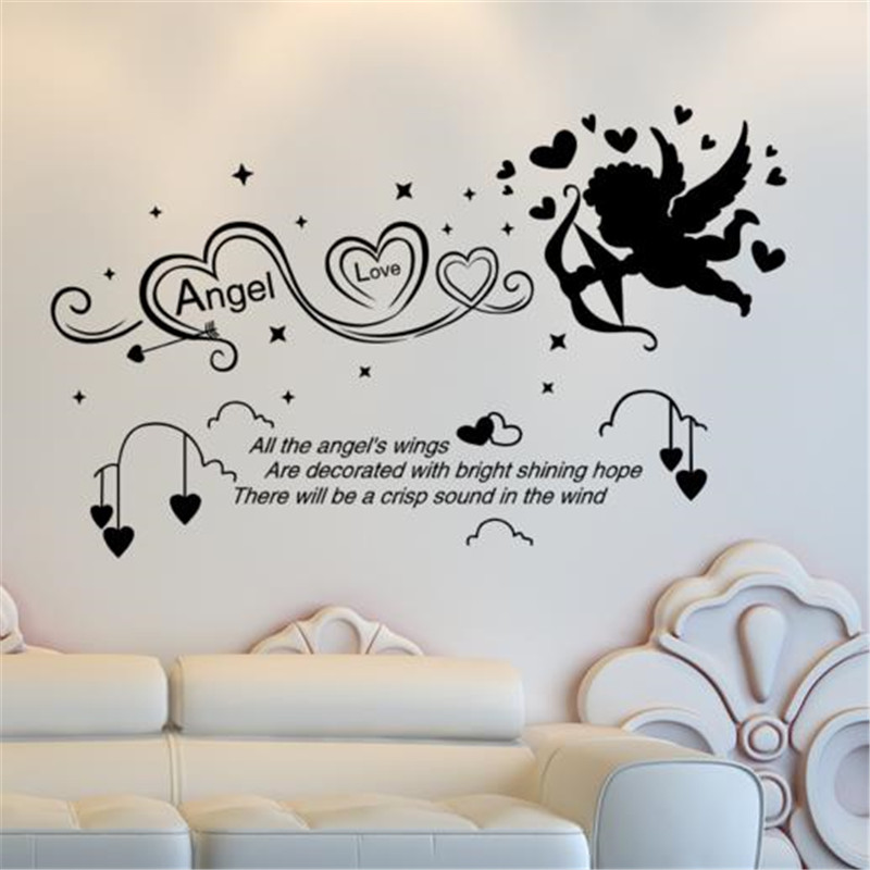 US $10.35 26% OFF|Customized Archery Angel Wall Stickers Quotes Vinyl DIY  Mural Art for Kids Rooms Kindergarten Decoration-in Wall Stickers from Home  ...