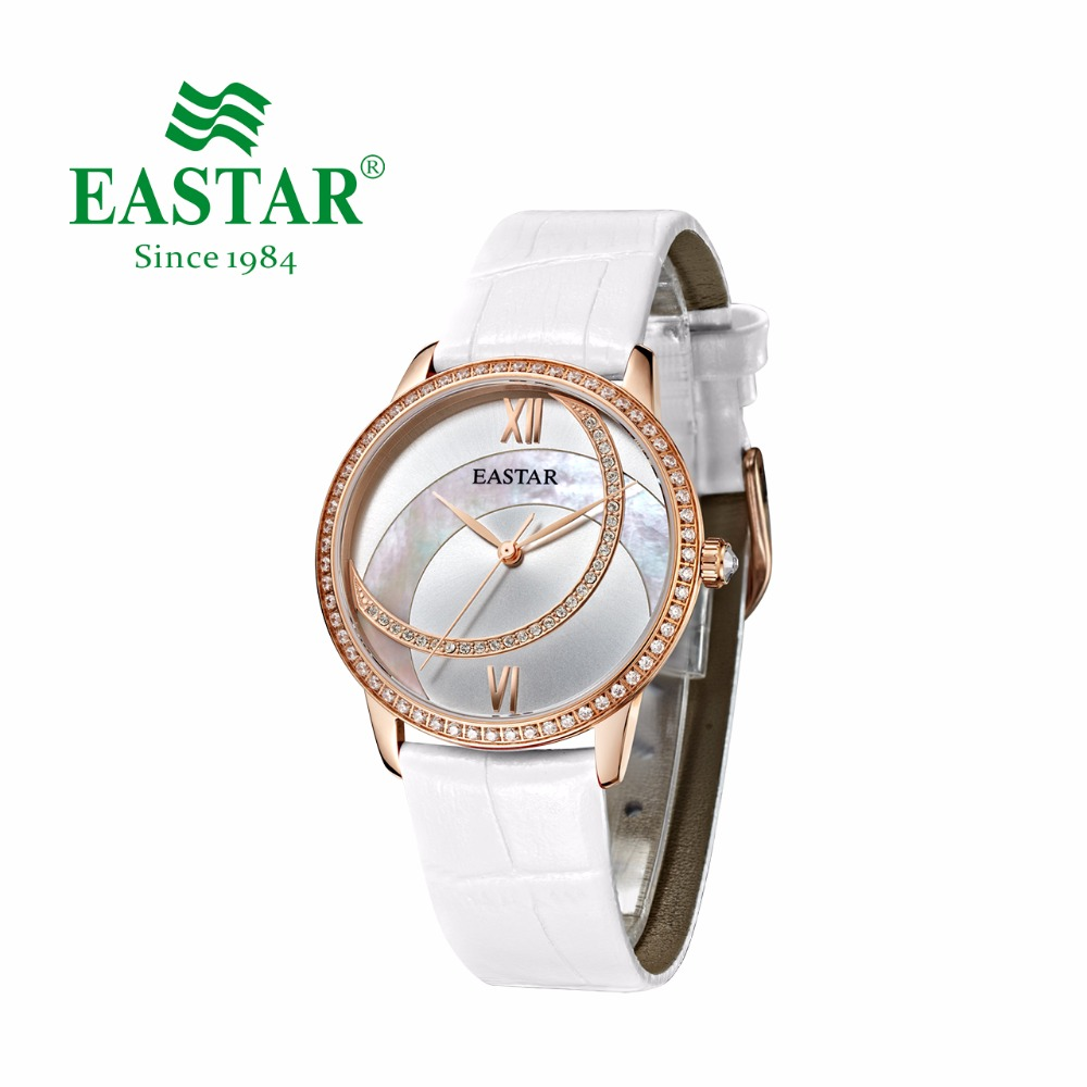 Eastar Watch Women Red & White Leather Wristwatch Shell Dial Diamond Case Watch Crystal 30M Waterproof Japan Quartz Movement