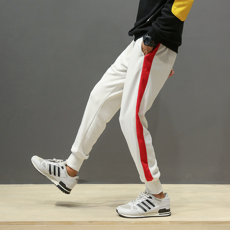 New Arrival Mens Sweat Pant Boys 2018 Fashion Side Stripe Loose Lover Pants Men Hot Sale Breathable Casual Trousers Male Joggers