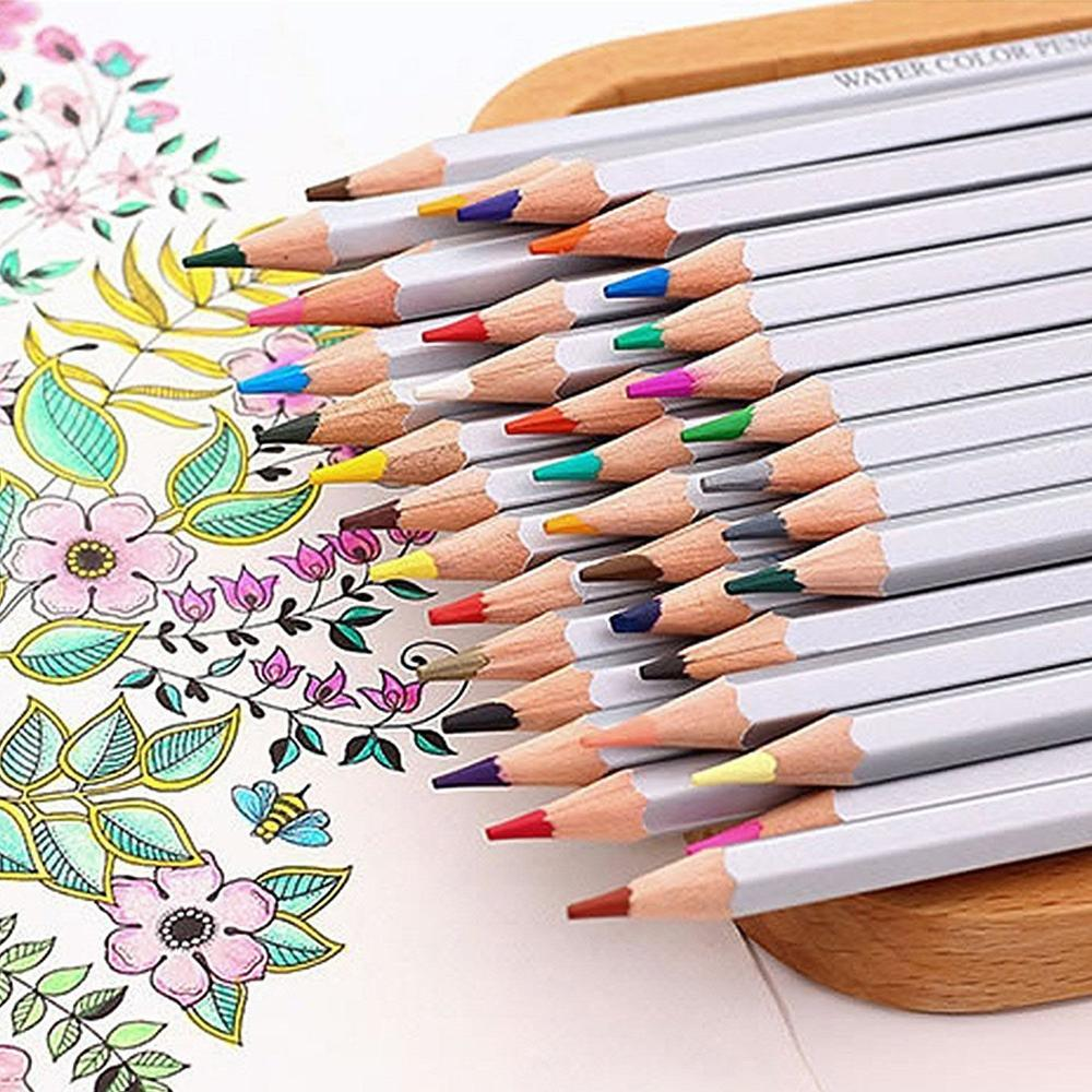 Watercolor pencils for adult coloring book - 48 Colored Pencils Set For Adult Coloring Rich Watercolor Pencils For Artist Sketch Adult