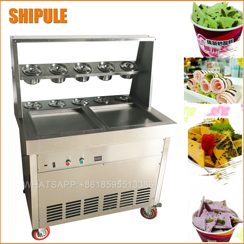 Fried Ice Cream Machine double square Pan Ice Cream Roll Machine with Salad Fruits Workbench 10pcs Tanks Cooling ce fried ice cream machine stainless steel fried ice machine single round pan ice pan machine thai ice cream roll machine