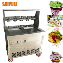 Fried Ice Cream Machine double square Pan Ice Cream Roll Machine with Salad Fruits Workbench 10pcs Tanks Cooling