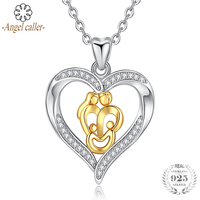 Angel Caller Authentic 925 Sterling Silver Gold Figure Pendant Necklace AAA Cubic Zirconia Heart Fine Jewelry for Women Girls