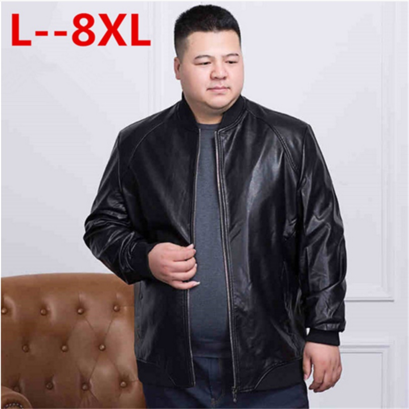 Plus Size 8XL 7XL New PU Leather Jacket Men's Autumn Loose Fit Motorcycle Jacket With Zipper Casual Male Coat Outerwear Tops