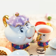 Genuine Beauty and the Beast Tea Set Coffee Set Mrs Potts Teapot Sticker Cup Set Cute Birthday Gift