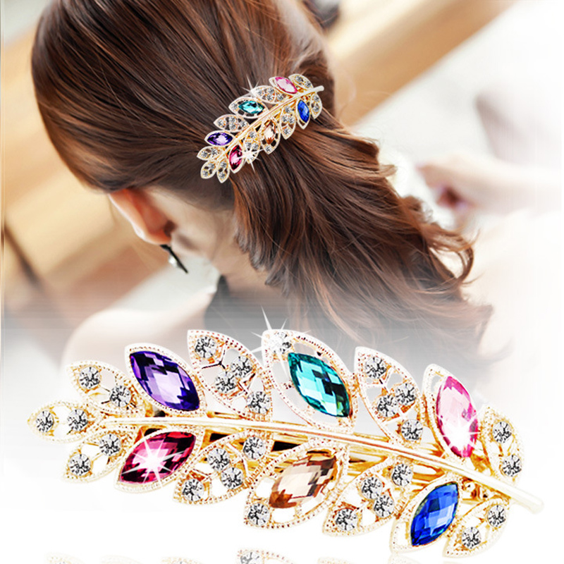 Fashion Women Girl Fashion Charming Leaves Hair Grips   Headwear   Hairpin Hair Clip Inlaid Rhinestone Accessories