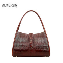 Women bag luxury brand 2019 new woemn genuine leather Fashion Crocodile pattern embossed women shoulder