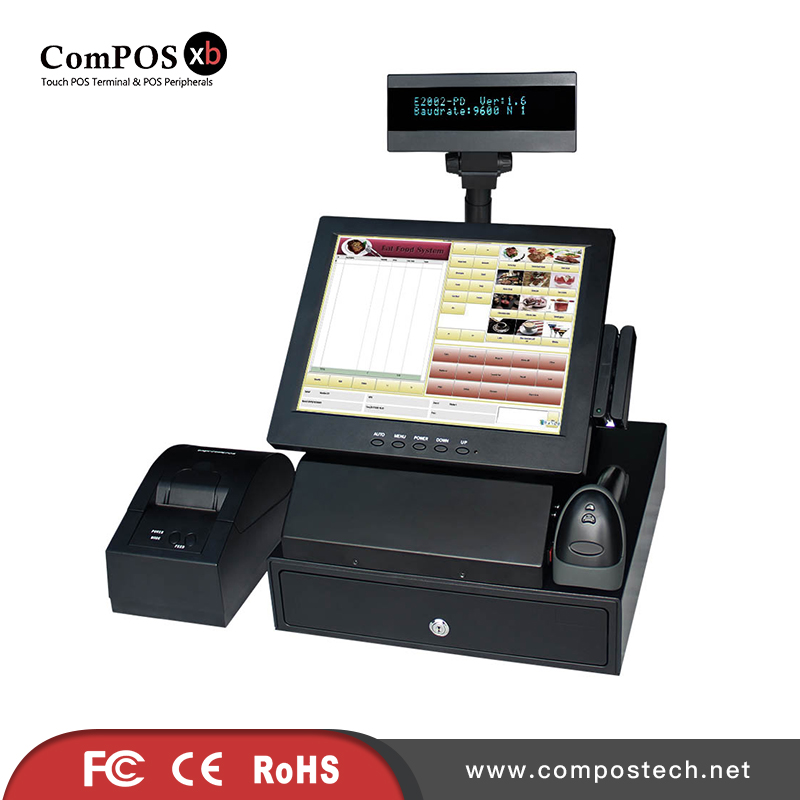 Hot sales factory 12 inch pos pc cash register with barcode scanner 58mm thermal printer 330mm cash drawer VFD customer display pure screen 15 inch cash register with printer cash drawer customer display and scanner all in one pc pos system for restaurant