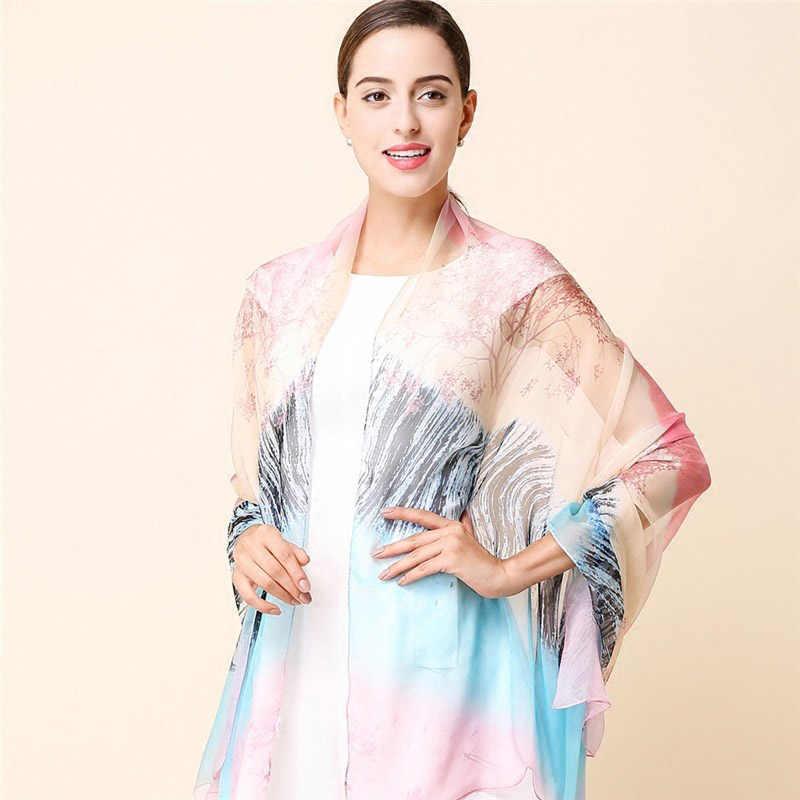 Moda de alta qualidade 100% real lenço de seda Xale hijab para as mulheres tamanho grande envoltório Verão protetor solar
