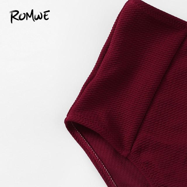 Romwe Sport Бордовый топ с широкими бретелями и клешеные штаны с высокой талией комплект бикини женский летний без проволоки квадратный вырез дв... 3