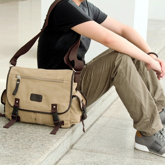 Men Business Crossbody Bag Printing Travel Handbag Vintage Men's Messenger Bags Canvas Shoulder Handbag