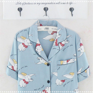 Image 5 - Caiyier Silk Pajama Sets Cute Elephant Print Short Sleeve Sleepwear Summer 2019 Women Korean Pyjama Causal Homewear M 3XL
