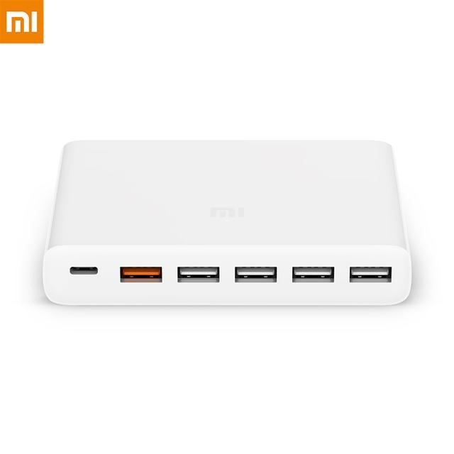 Xiaomi mi cargador USB portátil 2 4 6 puertos carga rápida QC 3,0 Max 60W 35W USB C de salida tipo C para teléfono Dispositivo inteligente tableta PC