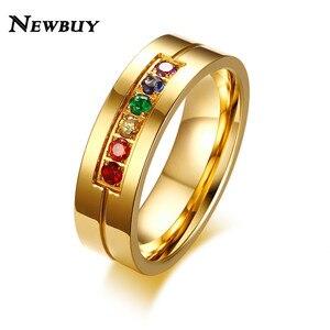 Женское кольцо с радужными кристаллами NEWBUY, кольцо из нержавеющей стали золотого цвета для геев и лесбиянок, 2020