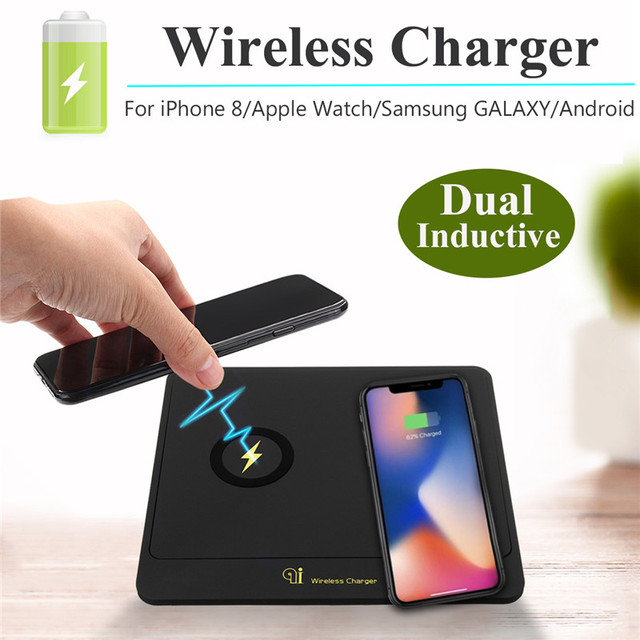 LEORY Fast Pad Charging Qi Dual Inductive Wireless Charger Mat Dock For Samsung S8/S7